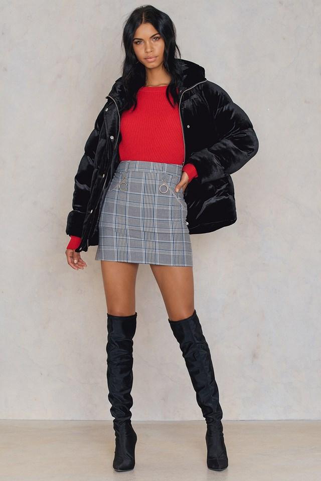 Zipper Detail Skirt Gray