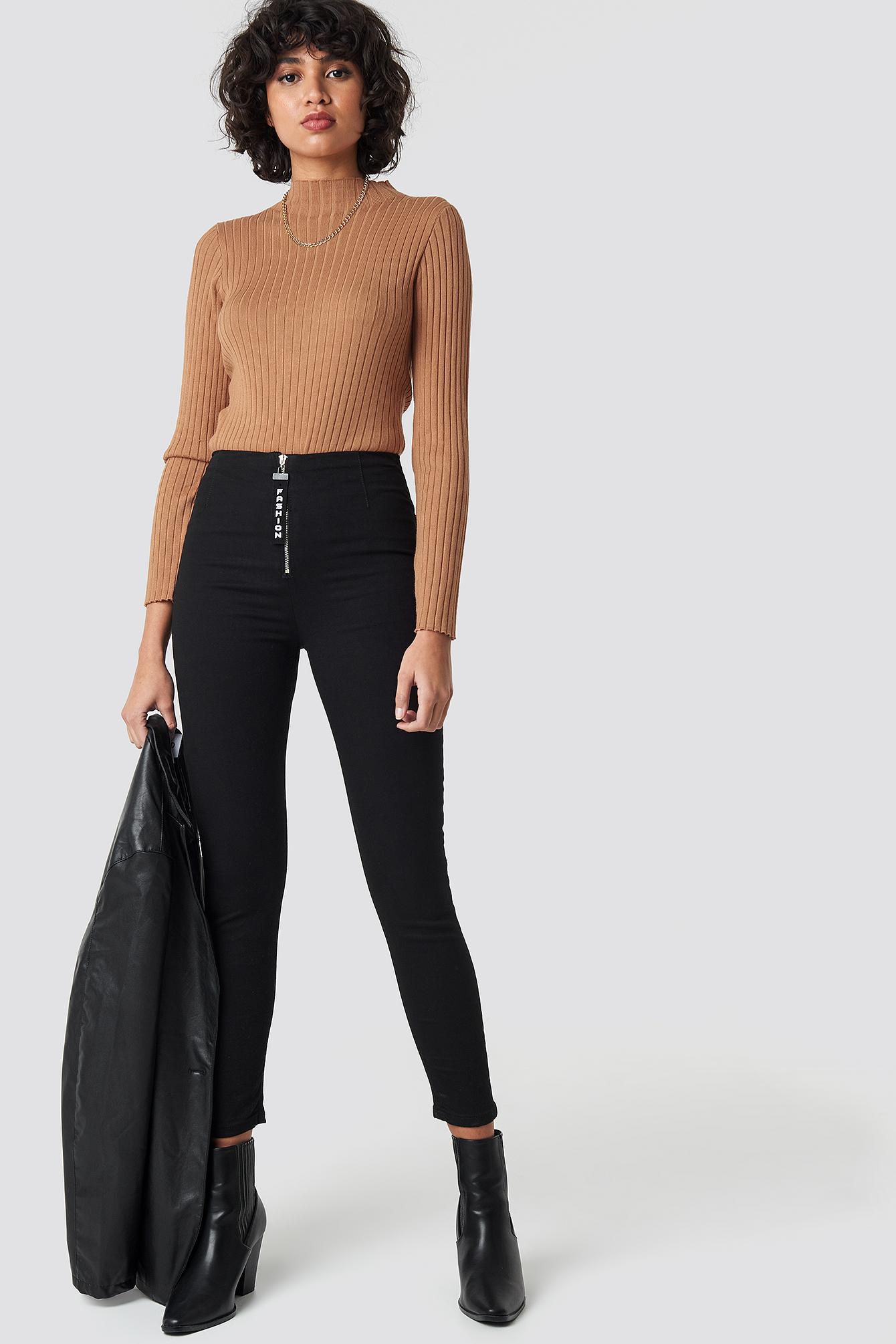 Zipper Detailed High Waist Skinny Jeans NA-KD.COM