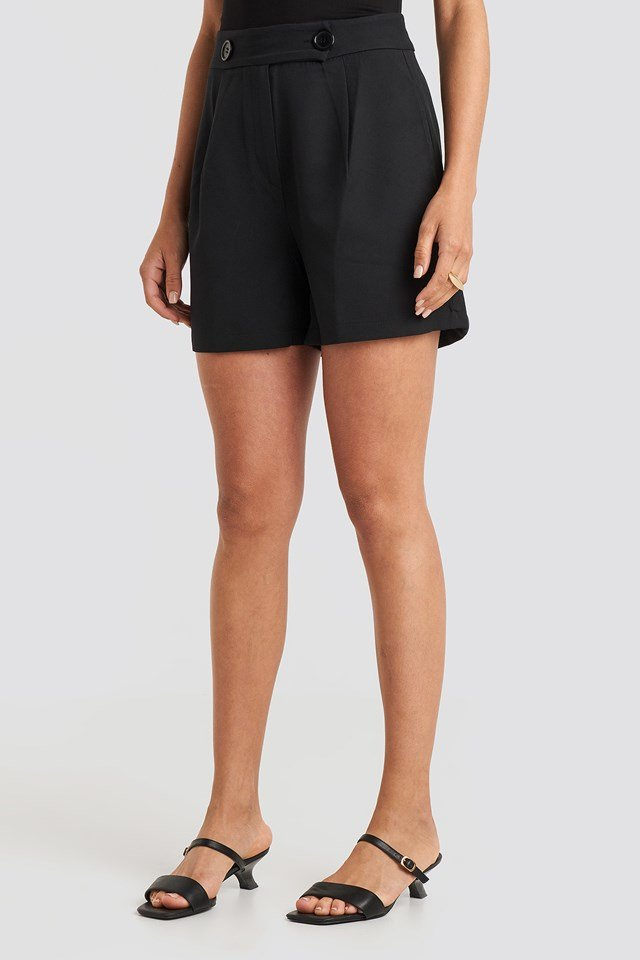 Zipper Detailed Shorts Black