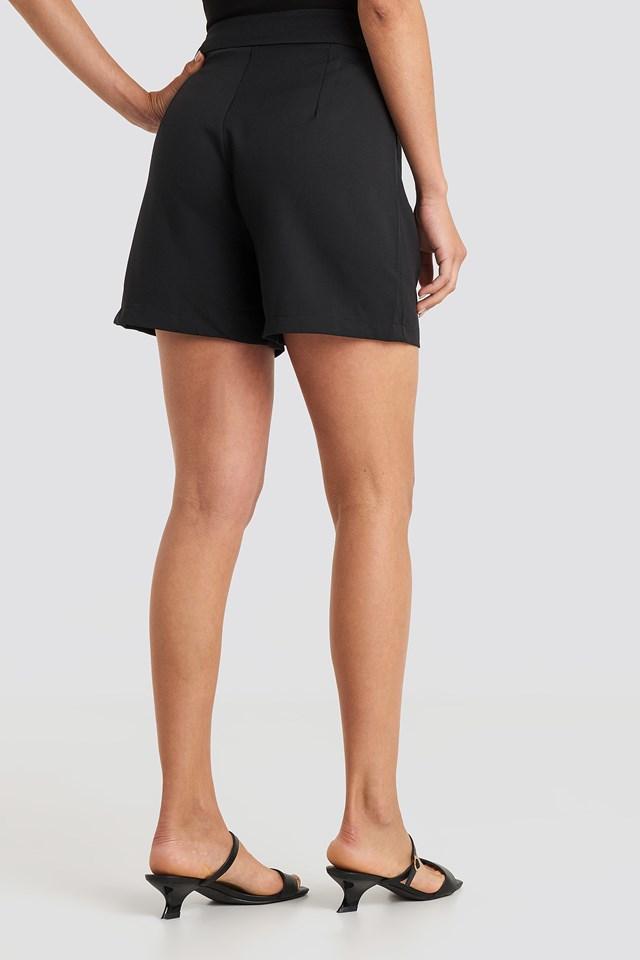 Zipper Detailed Shorts Black