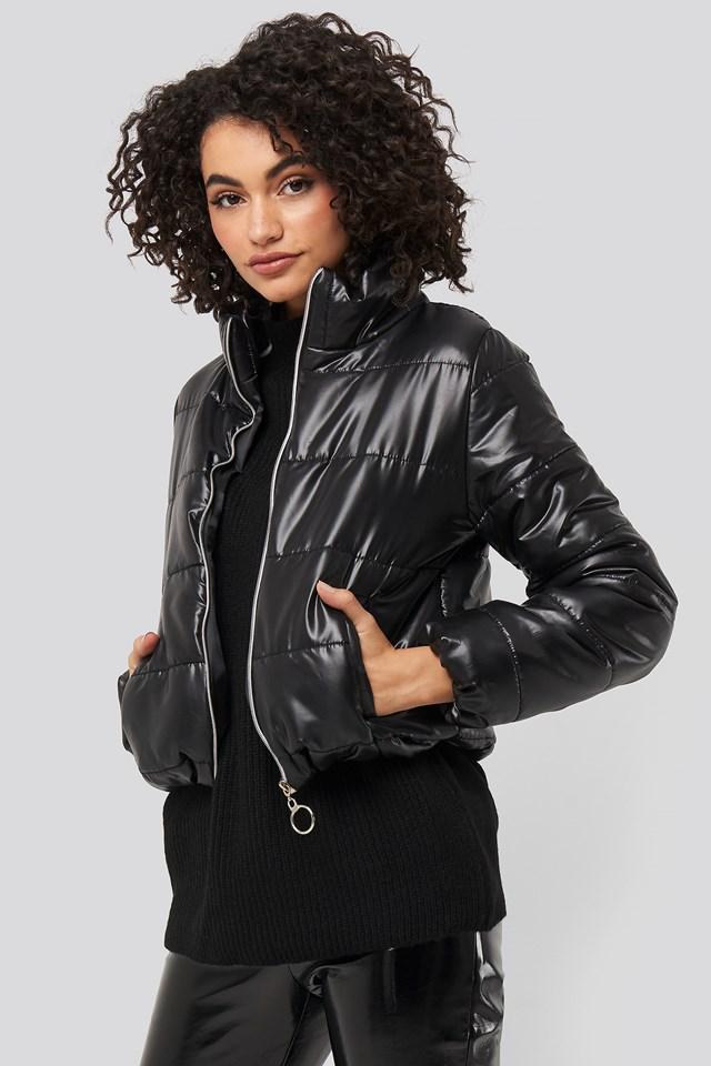 Zipper Upright Collar Crop Jacket Black