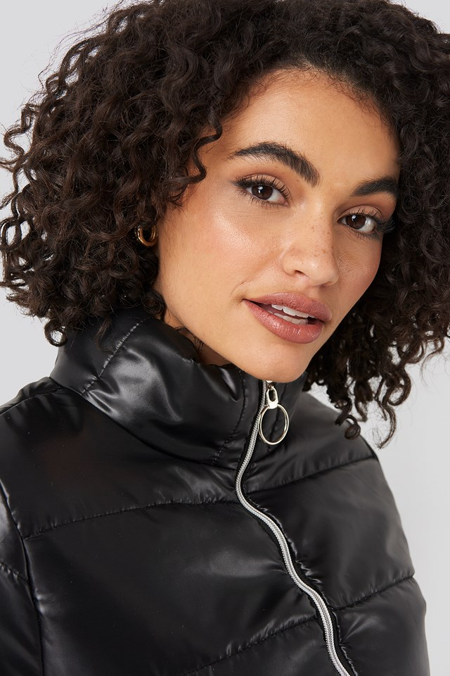 Zipper Upright Collar Crop Jacket Black