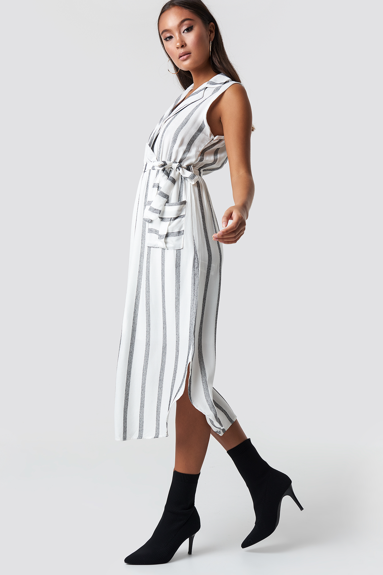 Striped Slit Midi Dress NA-KD.COM