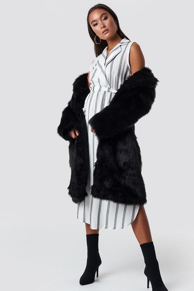 Striped Slit Midi Dress NA-KD.COM