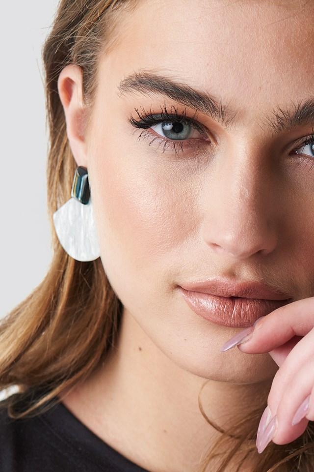 Triangular Resin Earrings Ivory