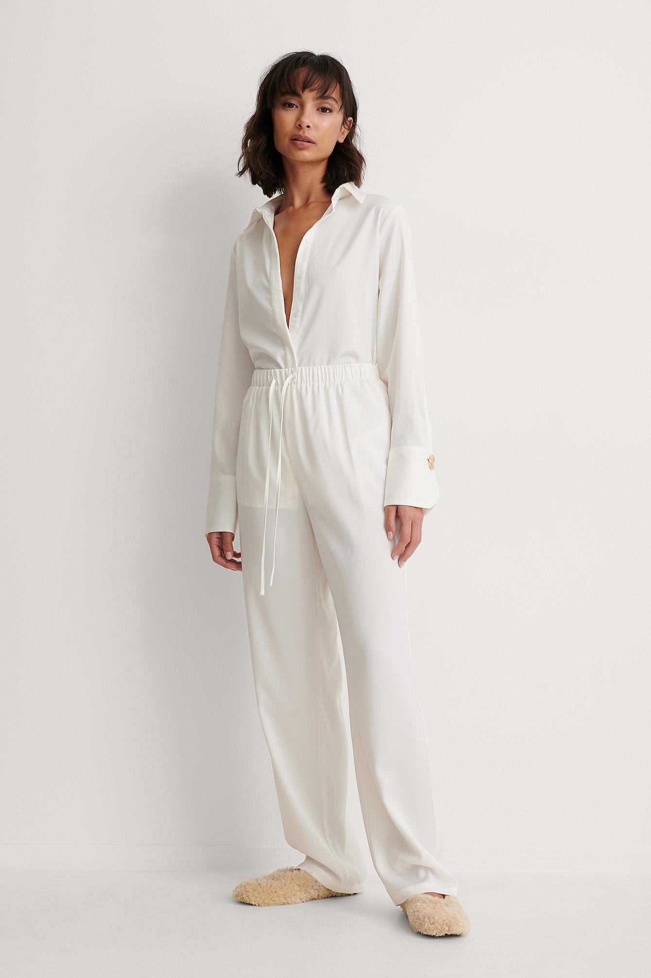 Trine Kjaer x NA-KD Genanvendte Bukser Med Bindetalje - White