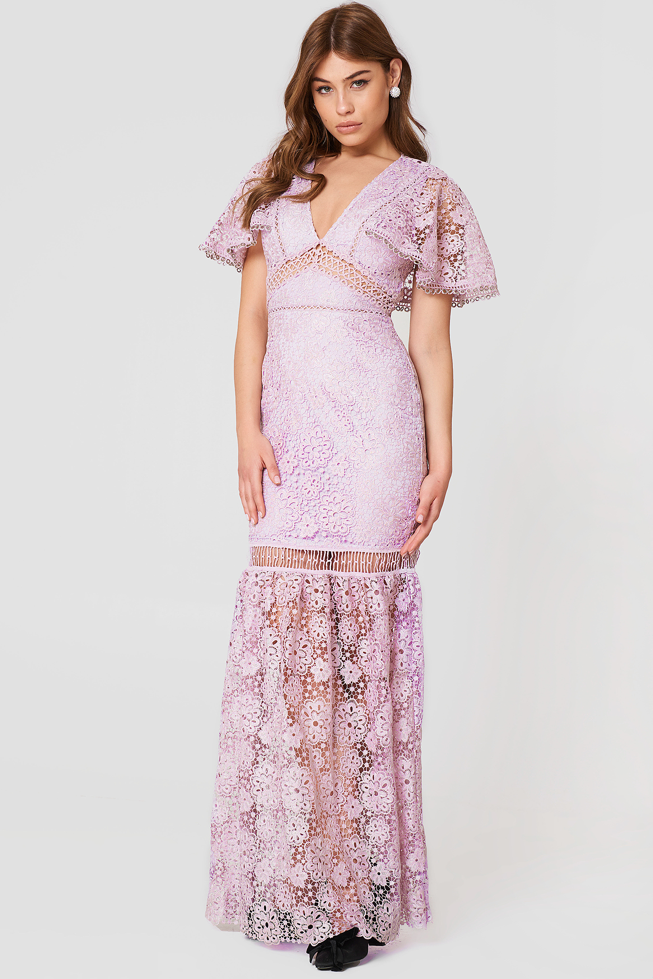 V-Neck Maxi Lace Dress NA-KD.COM