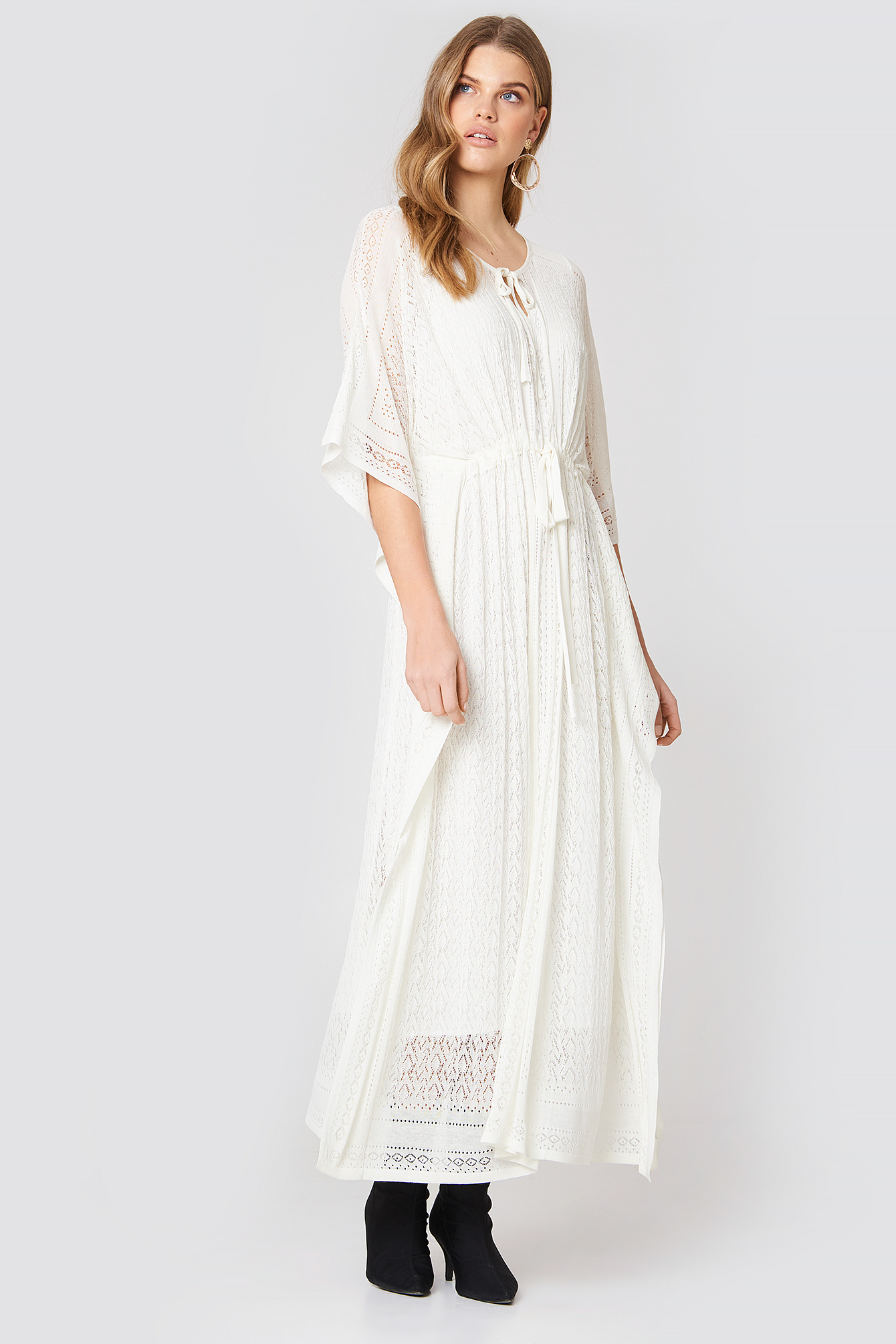 ABITO MADREPERLA LUNGO MAXI DRESS - WHITE, OFFWHITE