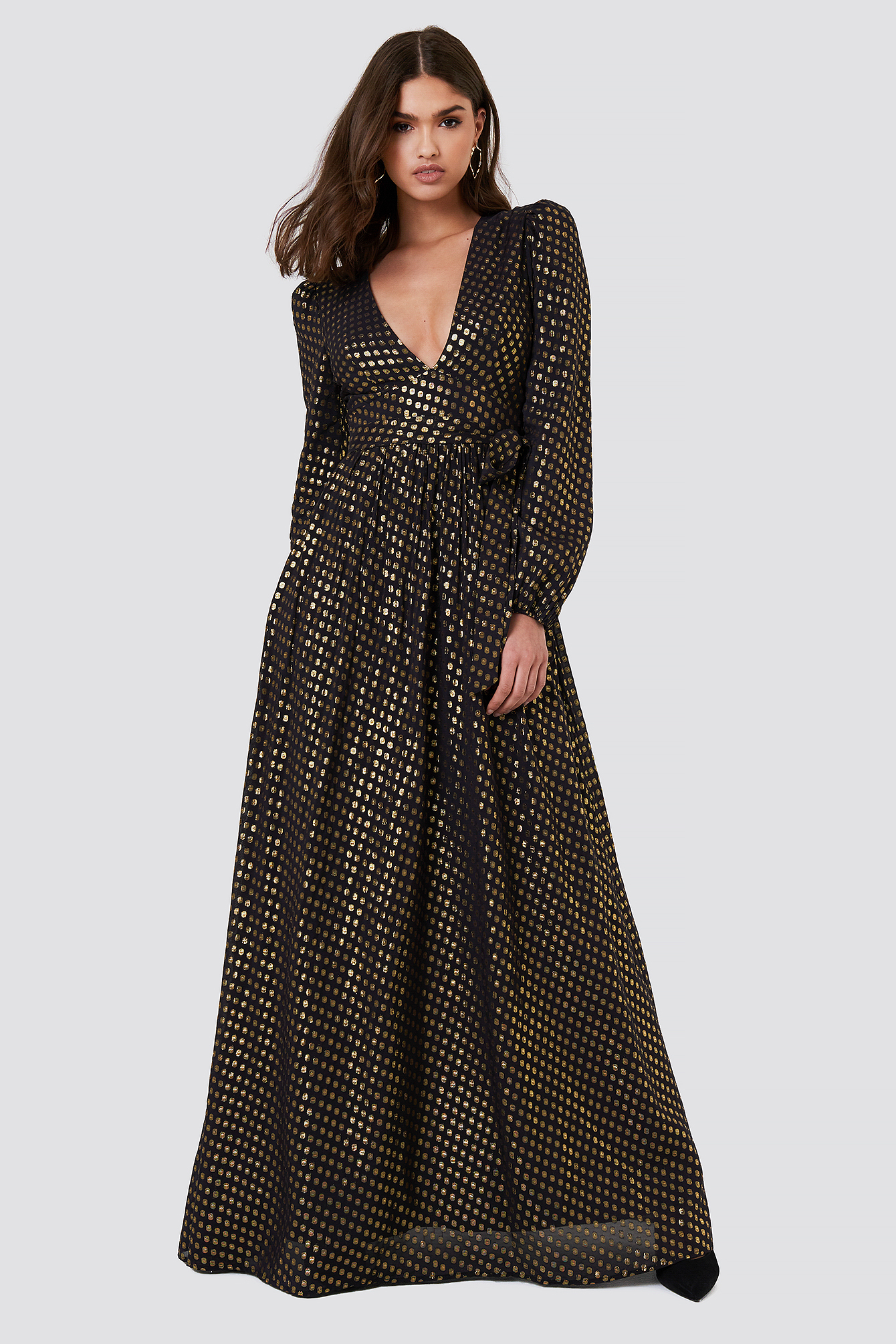 Abito Nero Oro Maxi Dress NA-KD.COM