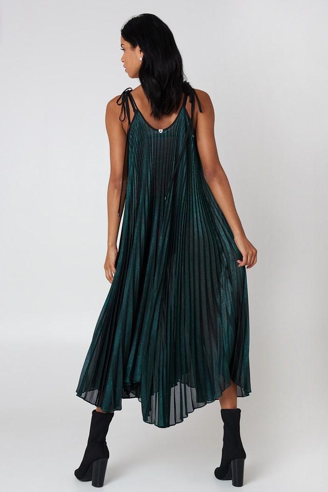 Abito Tessuto Dress Turchese Metallizzat
