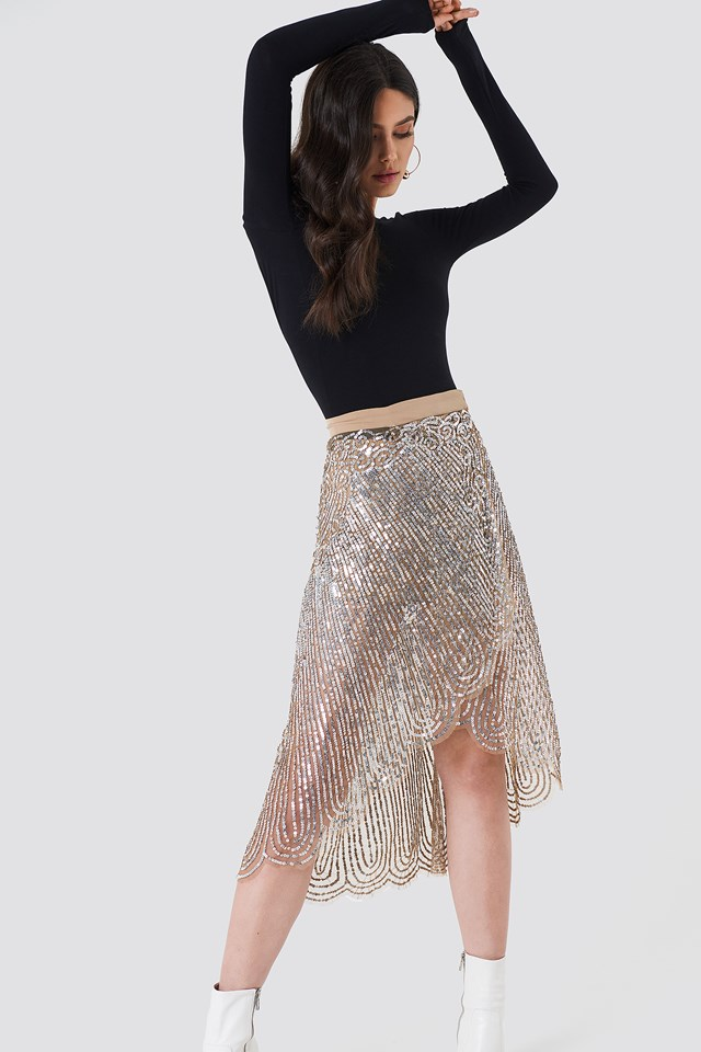 Gonna Paillettes Midi Skirt Dark Silver