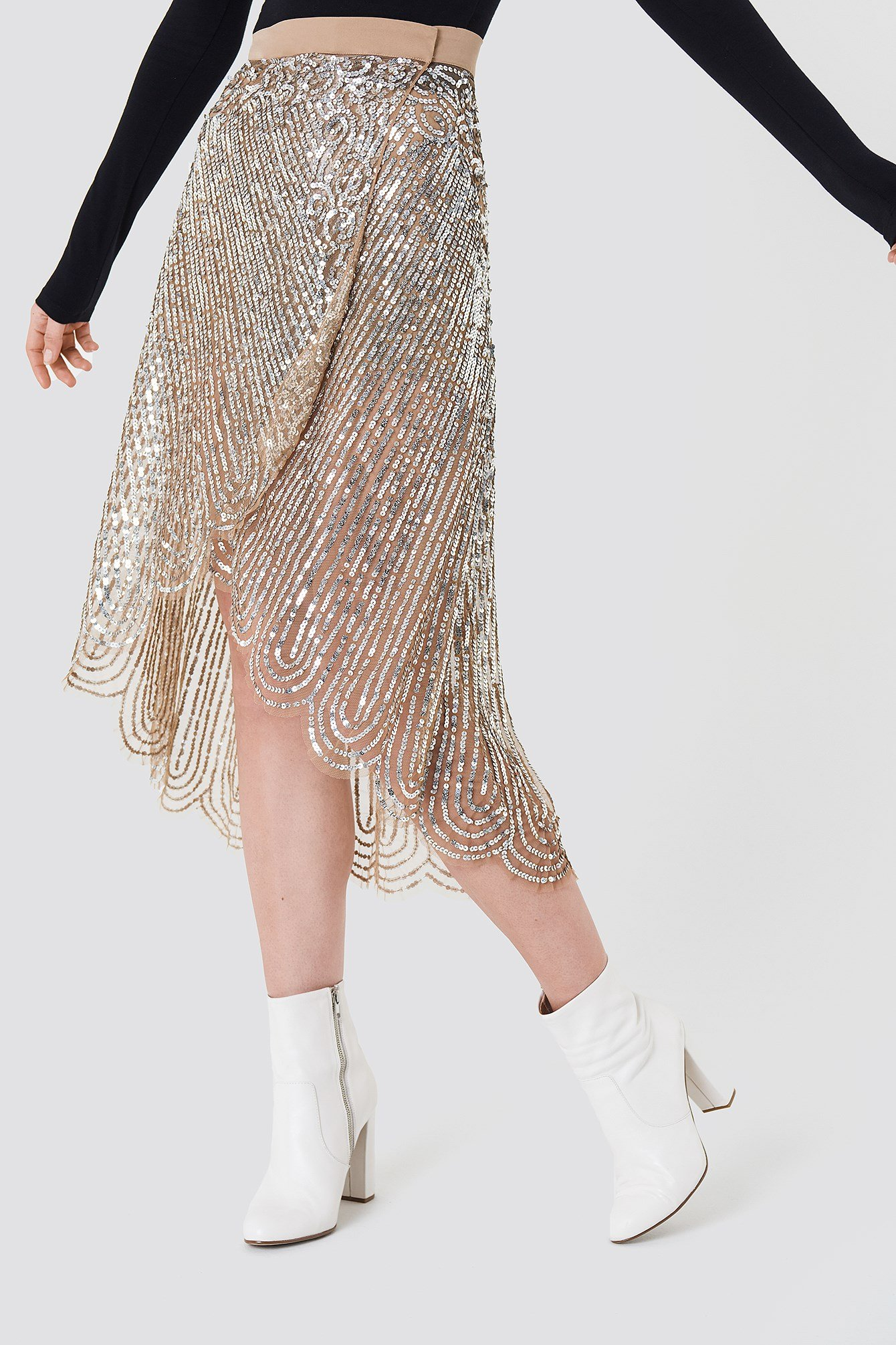 Gonna Paillettes Midi Skirt NA-KD.COM