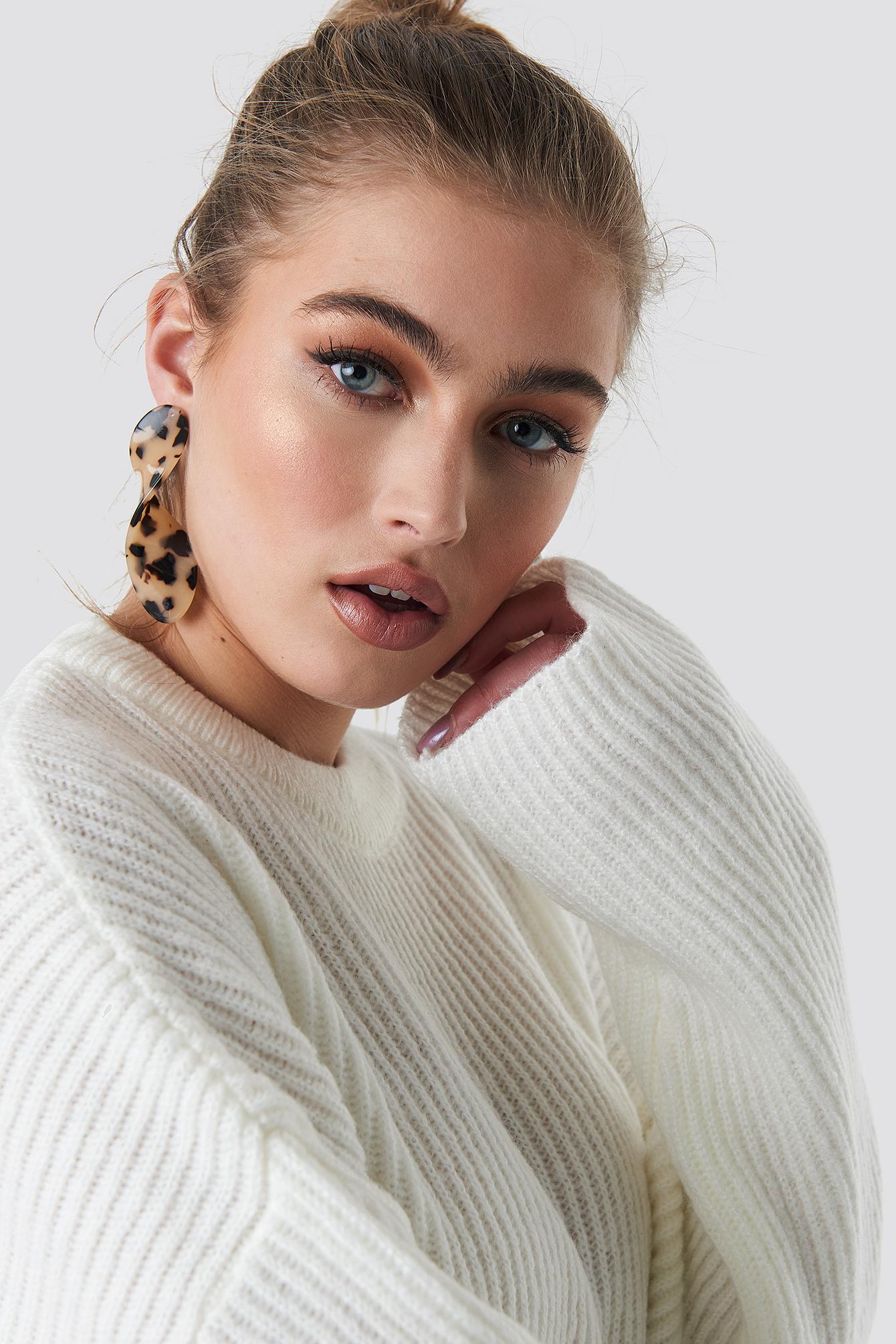 na-kd accessories -  Twisted Drop Tortoise Earrings - Beige