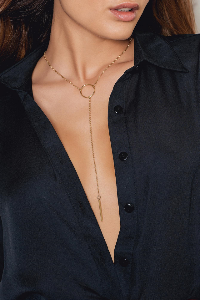 Drop Chain Circle Necklace Gold
