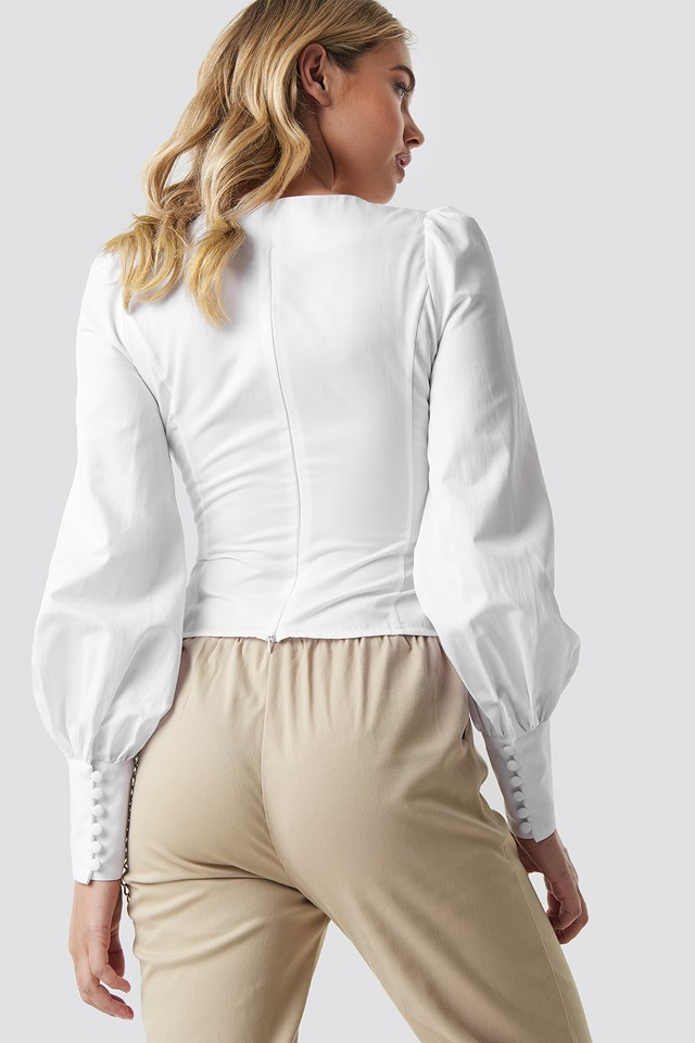 V-shape Balloon Sleeve Blouse White
