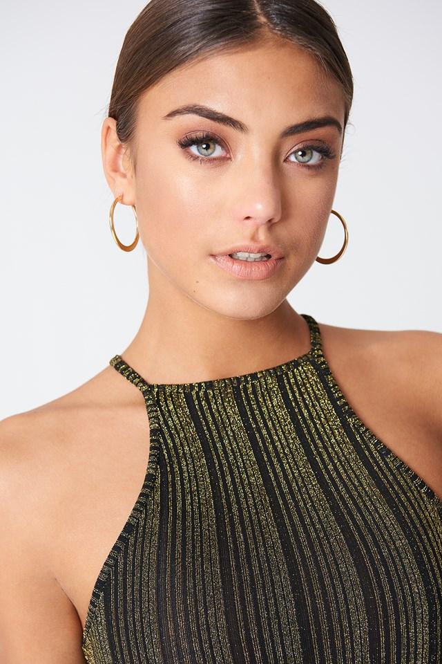 Flat Hoop Earrings Gold