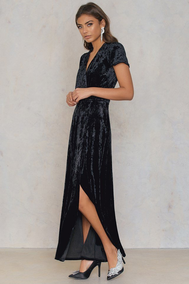 Velvet Deep Neck Overlap Dress Black