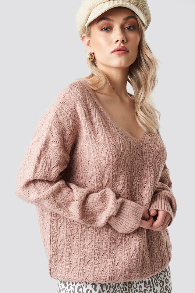V-neck Pattern Knitted Sweater Light Pink
