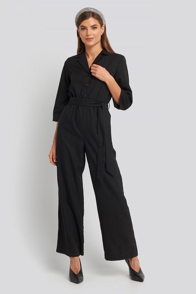 Wide Leg Buttoned Jumpsuit Black