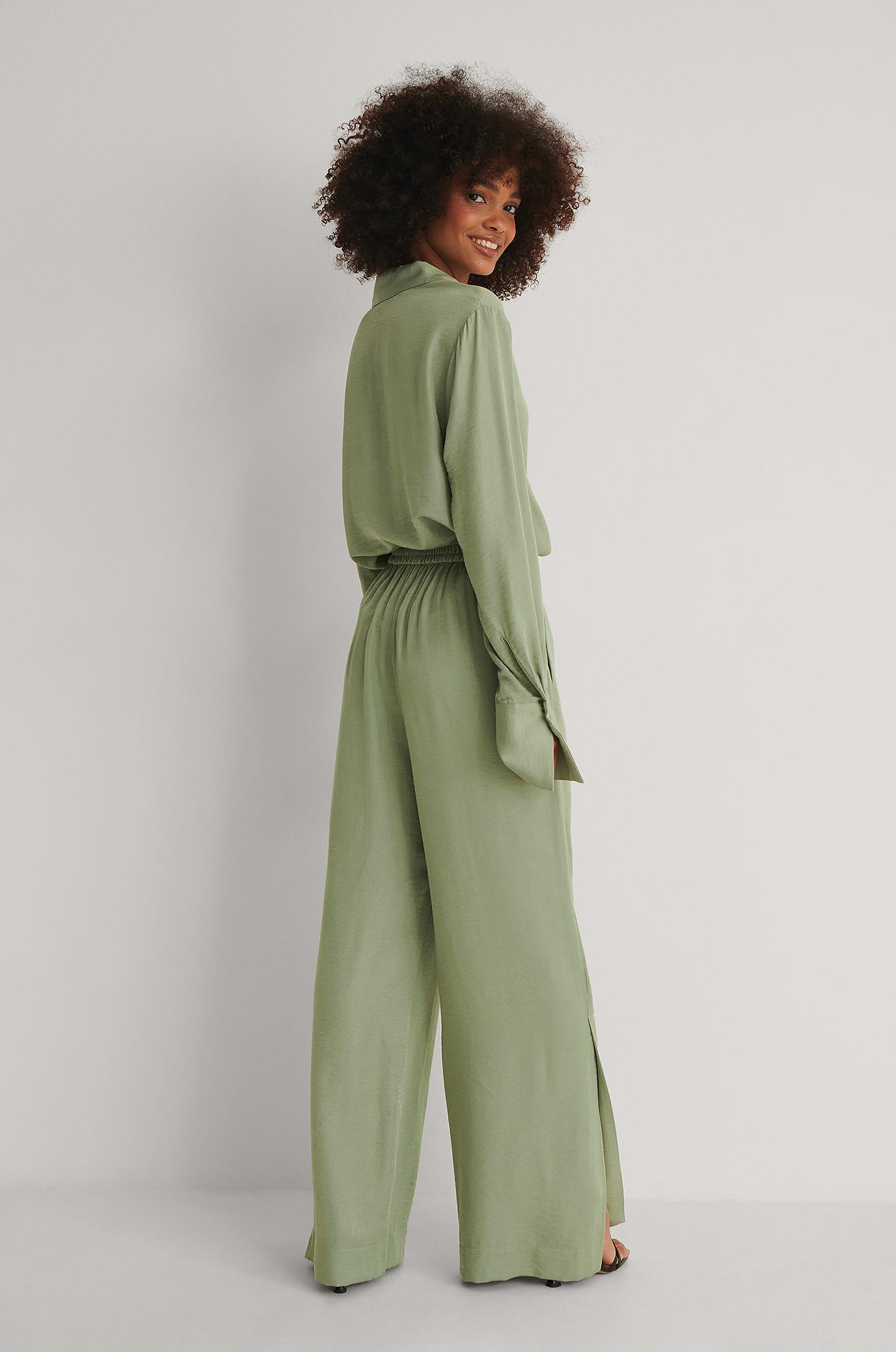 na-kd reborn -  Anzughose Mit Weiten Beinen - Green