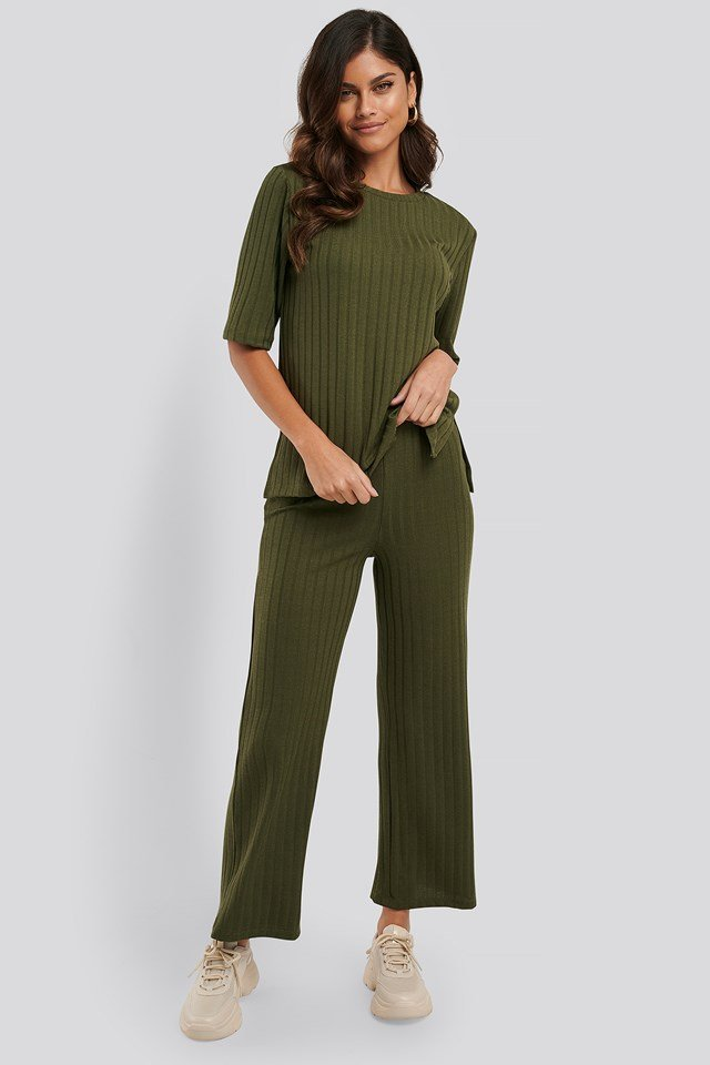 Wide Rib Loose Fit Pants Army Green