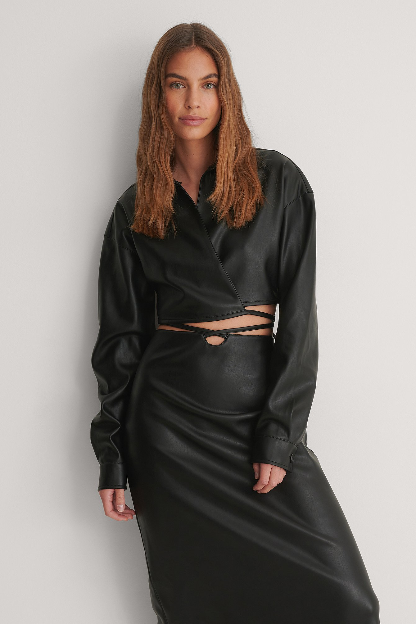 Black Wrap Tie Leather Jacket