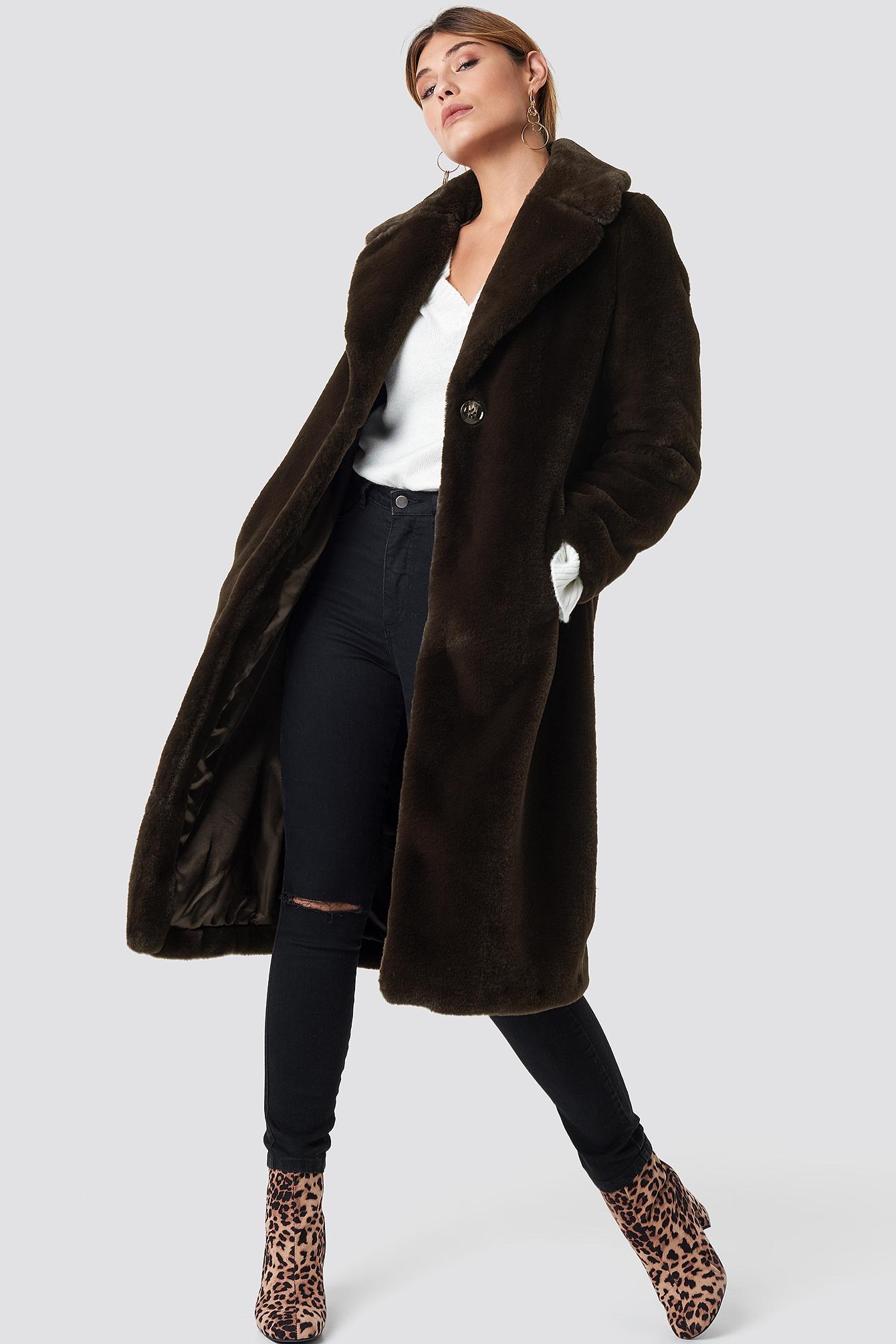 Caroline Faux Fur Coat NA-KD.COM