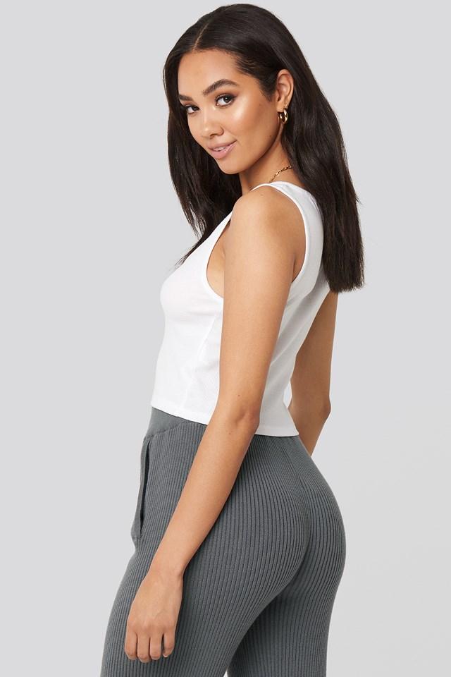 Cassie Cut Neck Top White