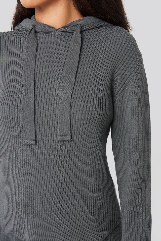 Greg Rib Knitted Hoodie Charcoal