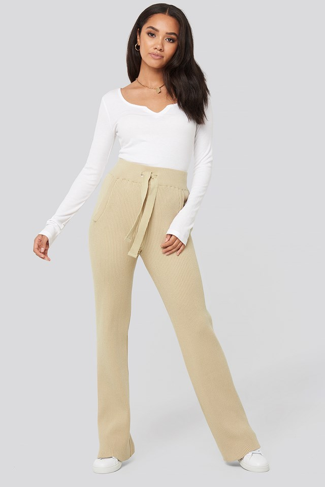 Greg Rib Knitted Pants Light Beige