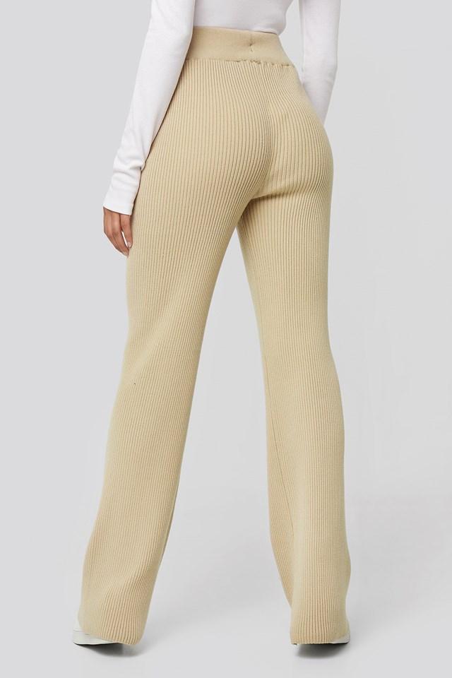 Greg Rib Knitted Pants Light Beige