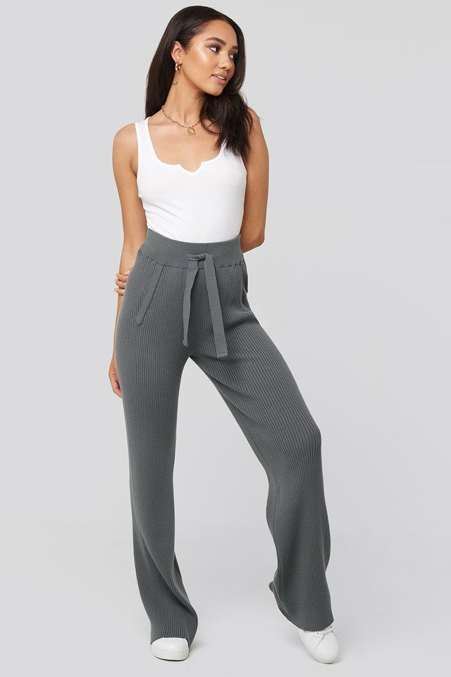 Greg Rib Knitted Pants Charcoal