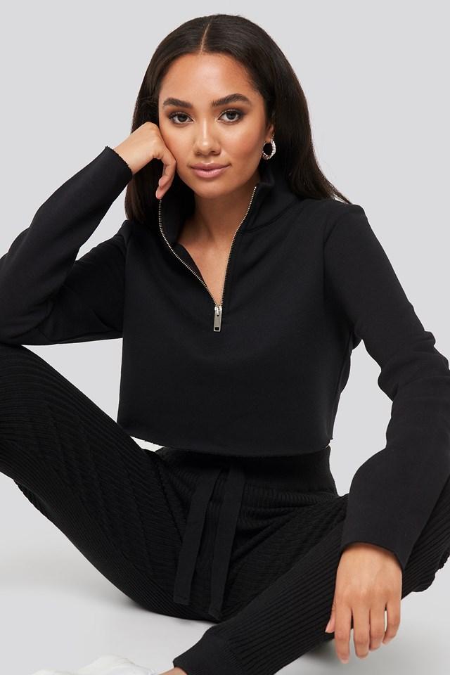 Mattie Crop Sweatshirt Black