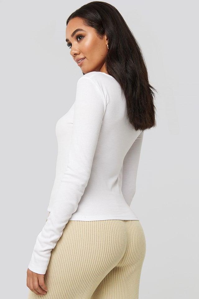 Shawna Cut Neck Long Sleeve Top White