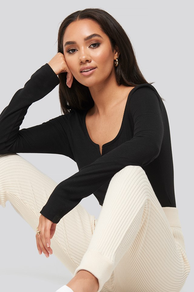 Shawna Cut Neck Long Sleeve Top Black