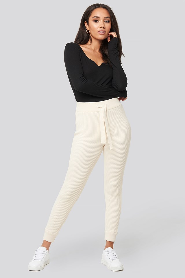 Ty Rib Knitted Pants Ivory