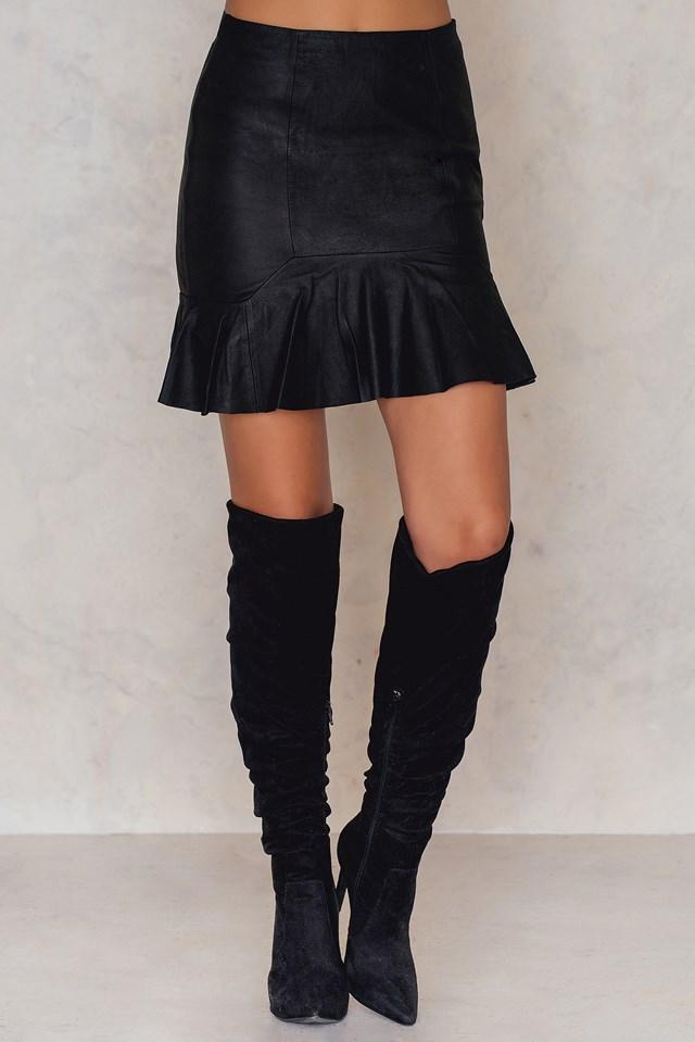 Yasrhea Nw Leather Skirt Black