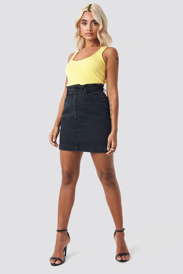 Yol Pleated Denim Skirt Black
