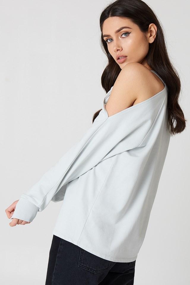 Cut Out Shoulder Sweatshirt Cloud
