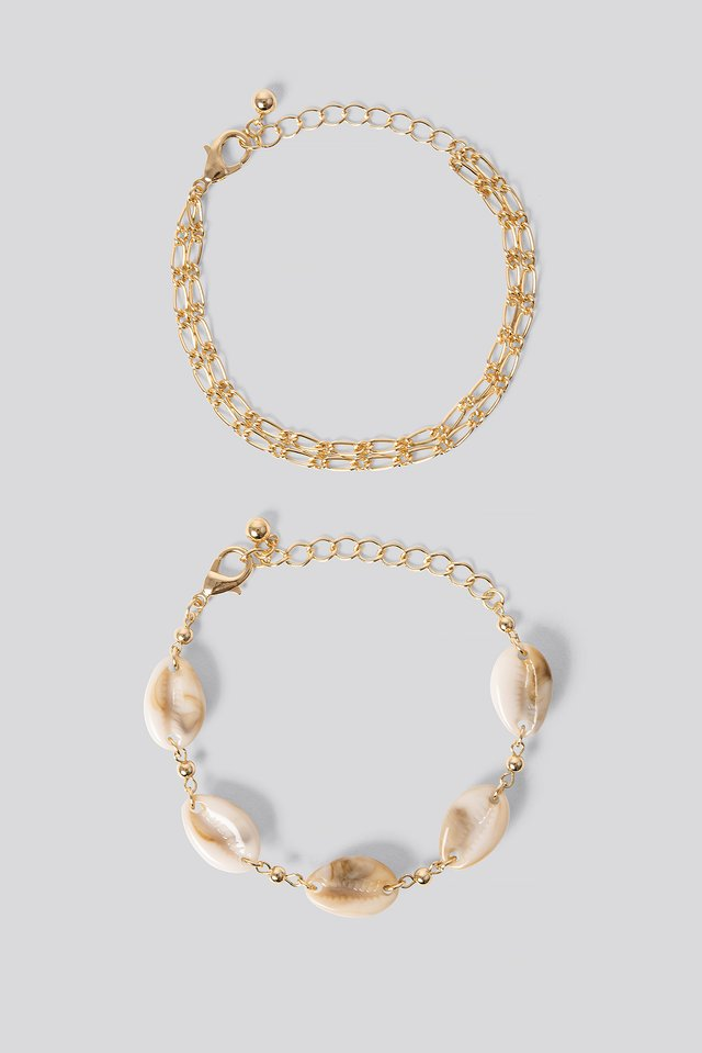 2-pack Shell Bracelets Gold