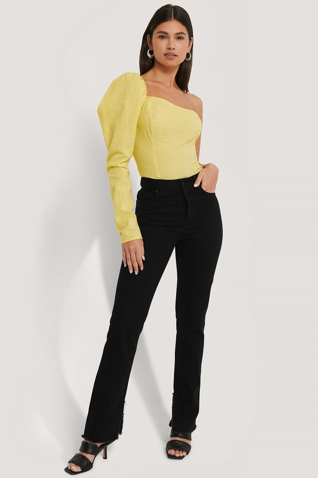 Asymmetric Puff Shoulder Blouse Outfit