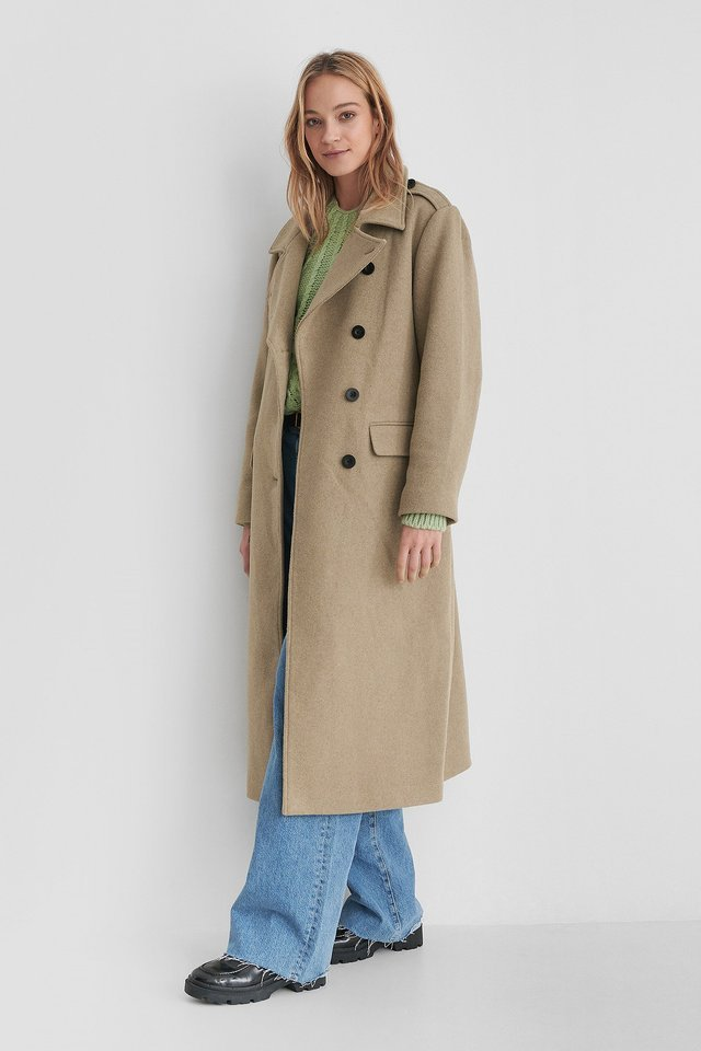 Belted Long High Neck Coat.