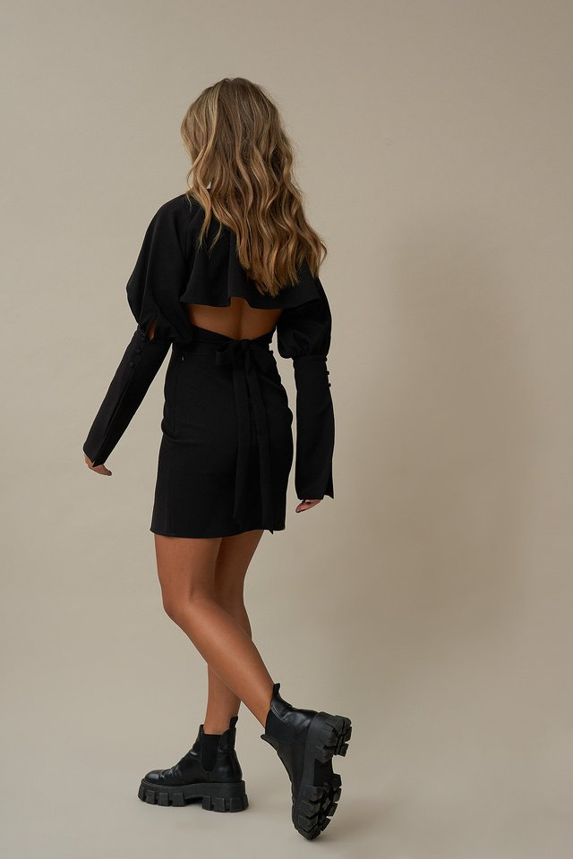 Balloon Sleeve Back Detail Dress Black