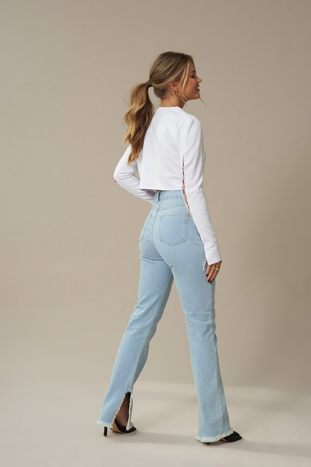 Highwaisted Raw Hem Straight Denim Light Blue