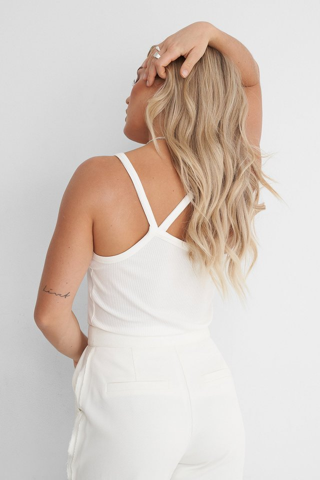 White Back Focus Ribbed Singlet