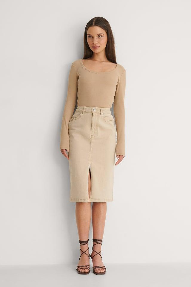Split Denim Skirt