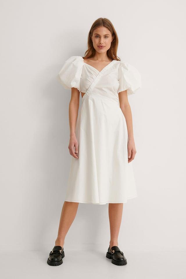 Asymmetric Short Puff Sleeve Midi Dress