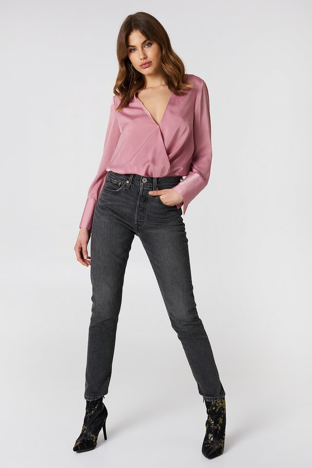 Grey Washed Jeans with Pink Blouse
