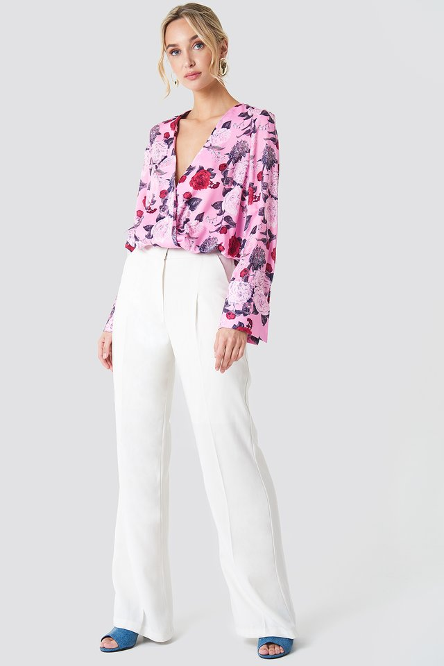 Floral Blouse on White Tailored Pants