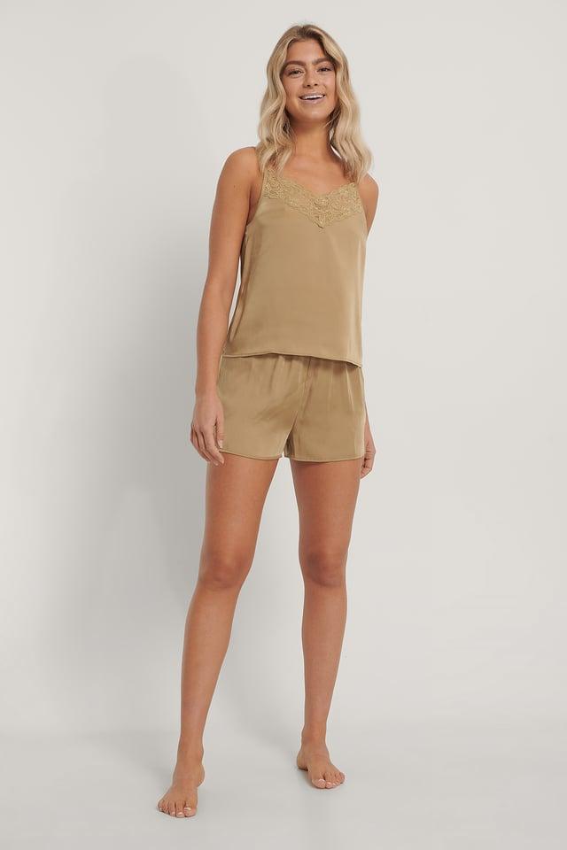 Lace Edge Night Satin Shorts Olive